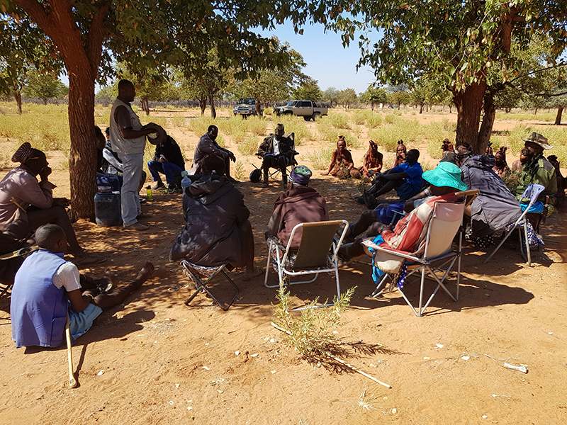 A focus group discussion on livelihoods and human wildlife conflict in Okanguati Conservancy