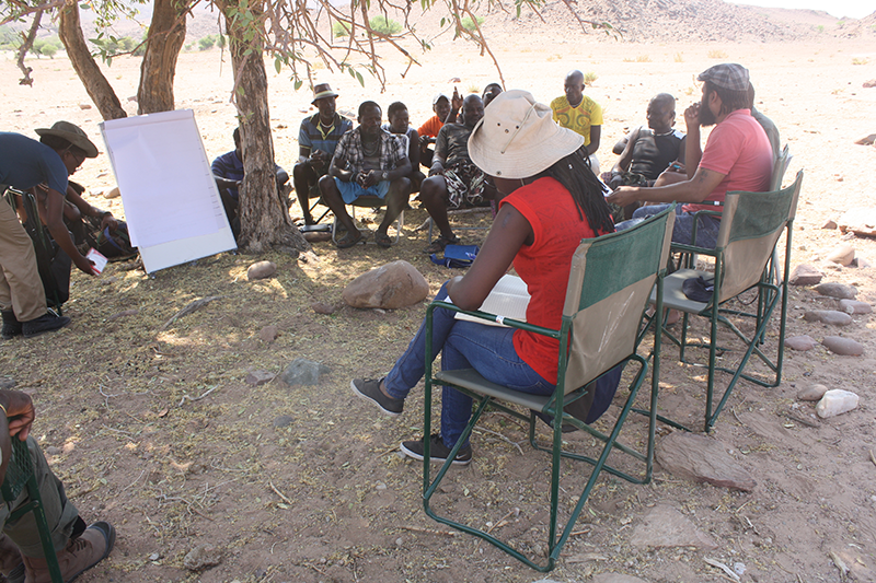 A focus group discussion with community game guards in Marienfluss conservancy