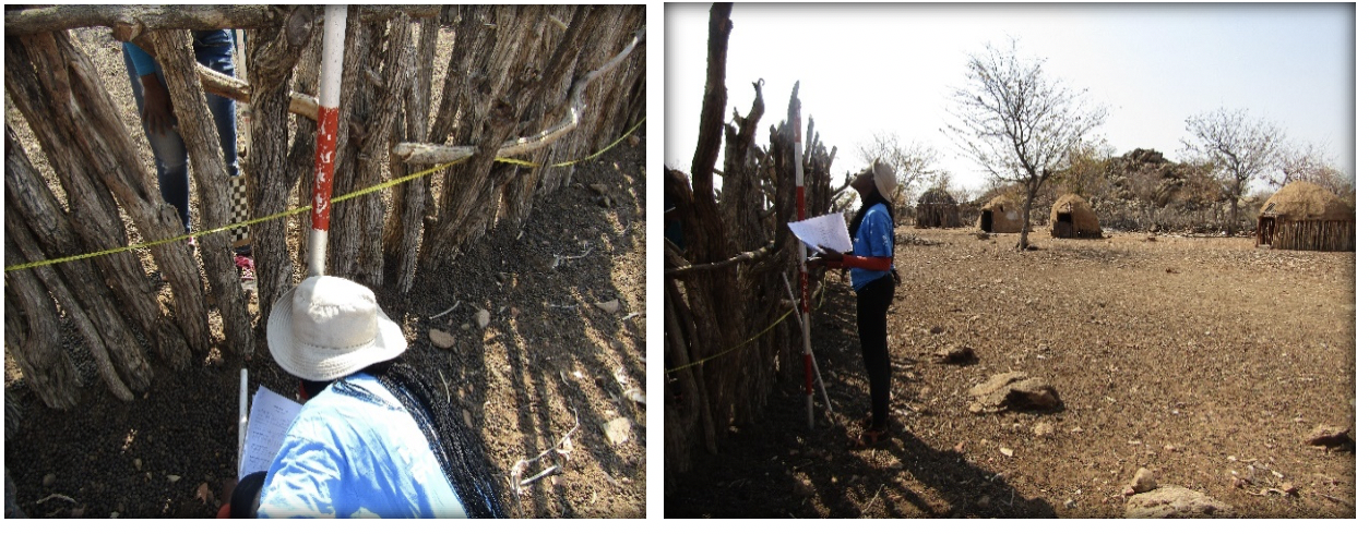 Figure 3. (a) Determine kraal visibility  (b) measuring kraal height.
