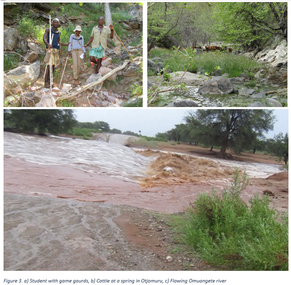 Figure 3. a) Student with game gaurds, b) Cattle at a spring in Otjomuru, c) Flowing Omuangete river