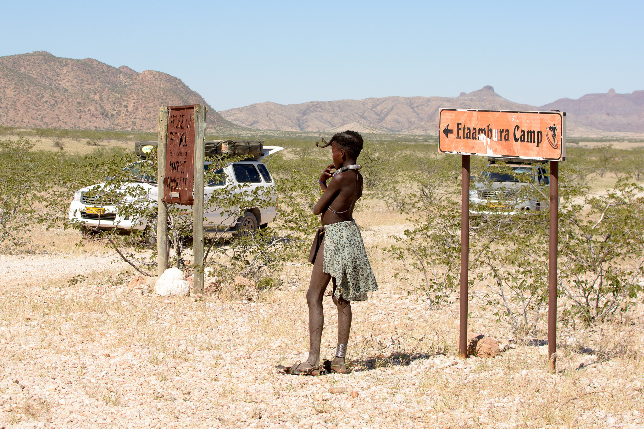 Himba girl at Rooidrum in Kunene, photo credit Alex Derr